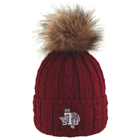 LogoFit Alps Cuff Hat with Faux Fur Pom