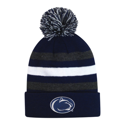 b726f56697b5a7 LogoFit Halftime Junior Striped Cuff Hat With Pom | The Penn State Bookstore