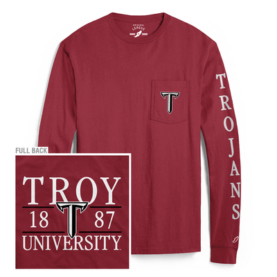 627451578b8 Troy Campus Bookstore - League Vintage Washed Long Sleeve Pocket T Shirt