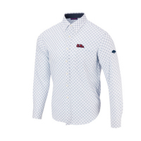The Grove Collection at Ole Miss Diagonal Button Up LS Woven