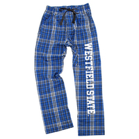 Team color plaid flannel pant with screen printed School Logo 100% Cotton Imported.