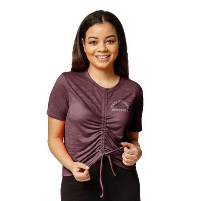 Red Shirt Athleisure Front Gather T Shirt