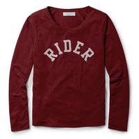 Red Shirt Athleisure Long Sleeve Breezy Back T Shirt