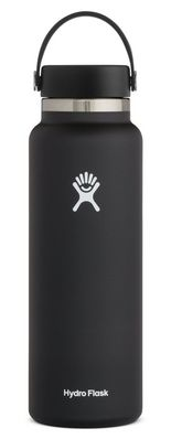 HYDRO FLASK 40 OZ WIDE MOUTH WITH FLEX CAP BLACK 2.0