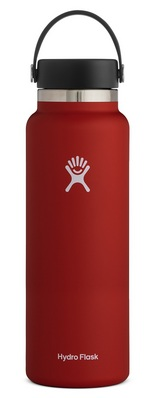 HYDRO FLASK 40 OZ WIDE MOUTH WITH FLEX CAP LYCHEE RED 2.0