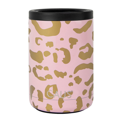 Caus 11oz Can Cooler Blush Leopard