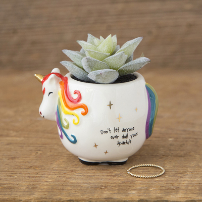 Natural Life Critter Succulent Unicorn