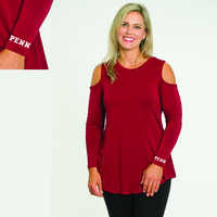 Flying Colors Relaxed Fit Long Sleeve Cold Shoulder