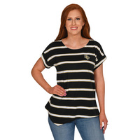 UG Apparel Missy Asymmetrical Striped Top