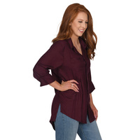 UG Apparel Missy Front Pleat Button Up