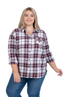 Womens Plus Size Boyfriend Plaid Top