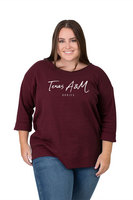Womens Plus Size Waffle Boat Neck Top