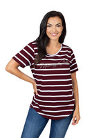 Womens Striped Short Sleeve T Shirt