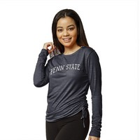 Red Shirt Athleisure Long Sleeve Side Gathered T Shirt
