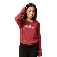 Red Shirt Elastic Crop Crew