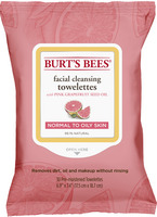Burts Bees Facial Cleansing Towelettes, Pink Grapefruit, 30 Count