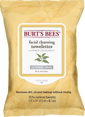 Burts Bees Facial Cleansing Towelettes, White Tea Extract, 30 Count