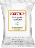 Burts Bees Sensitive Facial Cleansing Towelettes with Cotton Extract, 30 Count