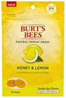 Burts Bees 100% Natural Throat Drops, Honey and Lemon, 20 Count