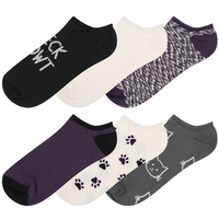 Capelli Socks 6 pack super soft no show socks with cat icons