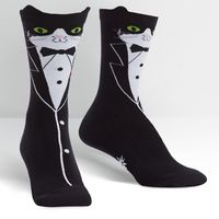 Sock It To Me Tuxedo Cat Crew Socks