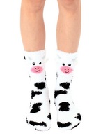 Fuzzy Cow Crew Sock
