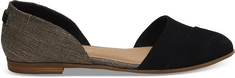 Toms Black Suede Metallic Woven Womens Jutti DOrsay Flats