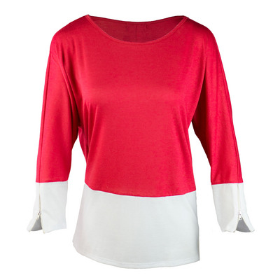 GAMEDAY COUTURE WALK THE LINE THREE QUARTER SLEEVE COLORBLOCK ZIPPER TEE