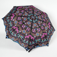 Fold Up Umbrella Black & Bright Floral