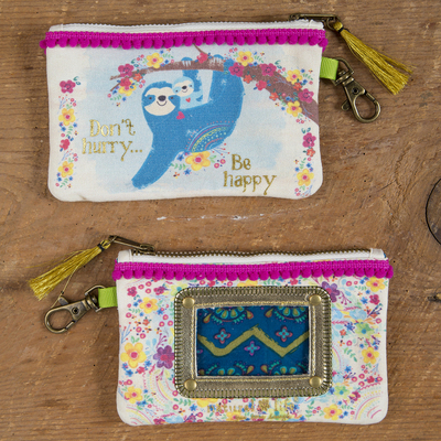 Natural Life ID Pouch Sloth Be Happy Pink