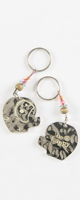Natural Life Token Keychain Elephant Be Happy