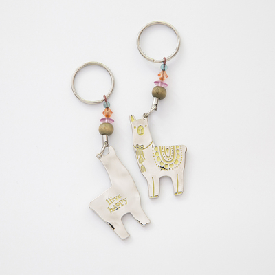 Natural Life Token Keychain Llama Llive Happy