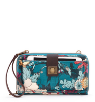 SakrootsLarge Smartphone Crossbody Teal Flower Power
