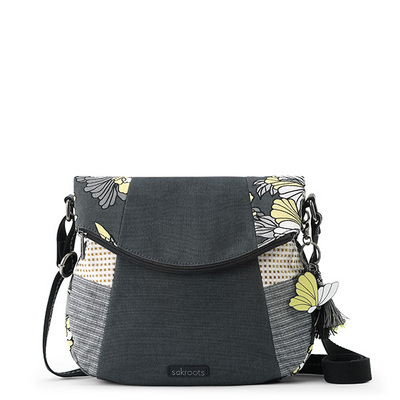 Sakroots Fold Over Crossbody Slate Flower Blossoms