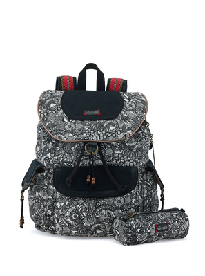 Sakroots Flap Backpack (Black & White Spirit Desert)