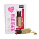 Blingsting Pepper Spray, Gold Rhinestone Keychain Case, Max Strength Formula