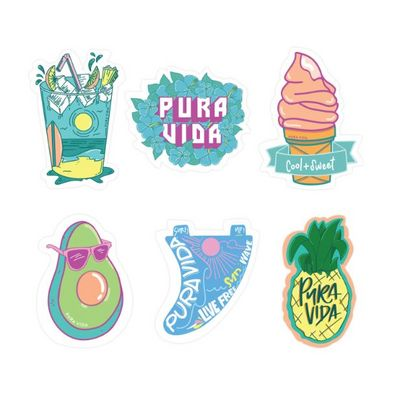 Pura Vida Cool and Sweet Stickers  6 Pack
