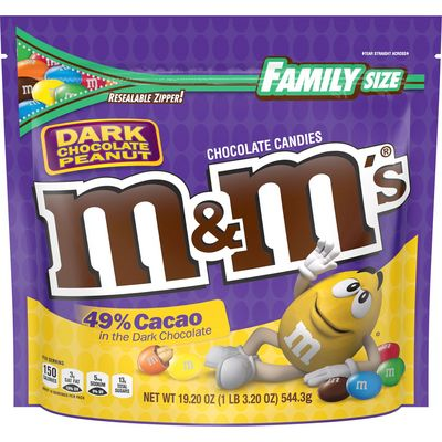 M&Ms Peanut Dark Chocolate Family Size, 18.4oz (Pack of 8)