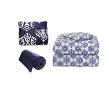 Navy and Navy Medallion Bedding Bundle