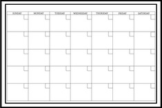 White Monthly Calendar 36 X 24