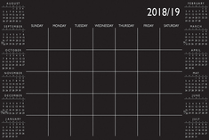 WallPops 36in by 24in Black Academic Calendar 201819