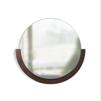 Umbra Mira Wall Mirror, Decorative Mirror for Entryway with Wood Frame on the Bottom Half