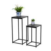 Honey Can Do Set of 2 Square Side Tables, Black