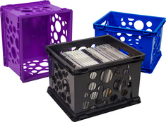 Storex Small Bubble Crate, Assorted Colors