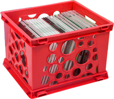 Storex Small Bubble Crate, Red