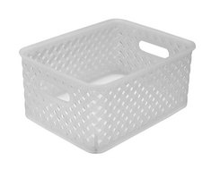 Wicker Small Storage Tote, Clear