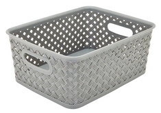 Wicker Small Storage Tote, Grey