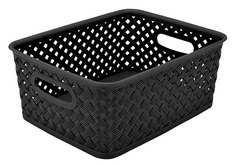 Wicker Small Storage Tote, Black