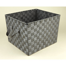 LARGE GREY WOVEN STRAP TOTE