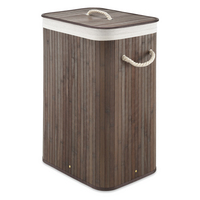 Whitmor Rectangular Dark Bamboo Hamper with Removable Liner